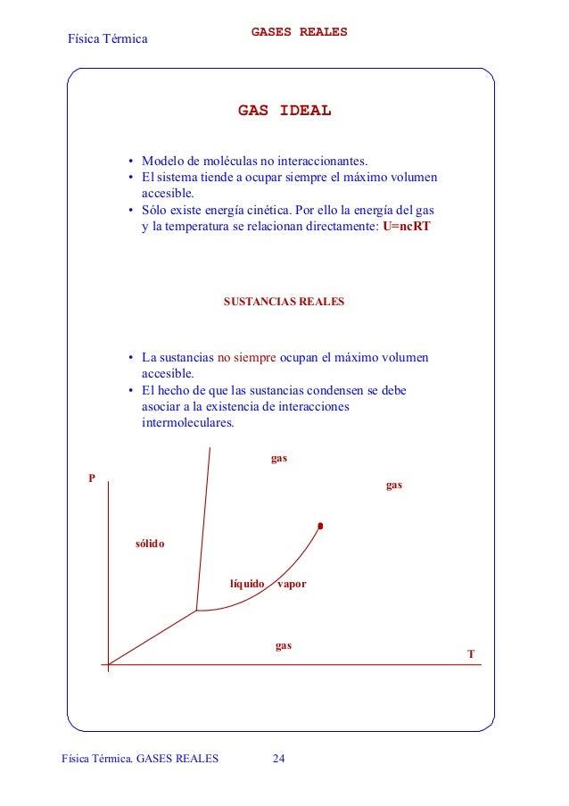 GASES REALES Física Térmica                                GAS IDEAL           • Modelo de moléculas no interaccionantes. ...