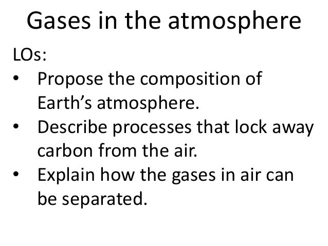 Gases in the atmosphereLOs:• Propose the composition of  Earth's atmosphere.• Describe processes that lock away  carbon fr...