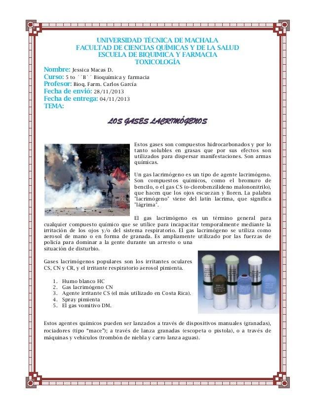 UNIVERSIDAD TÉCNICA DE MACHALA FACULTAD DE CIENCIAS QUÍMICAS Y DE LA SALUD ESCUELA DE BIQUIMICA Y FARMACIA TOXICOLOGÍA Nom...