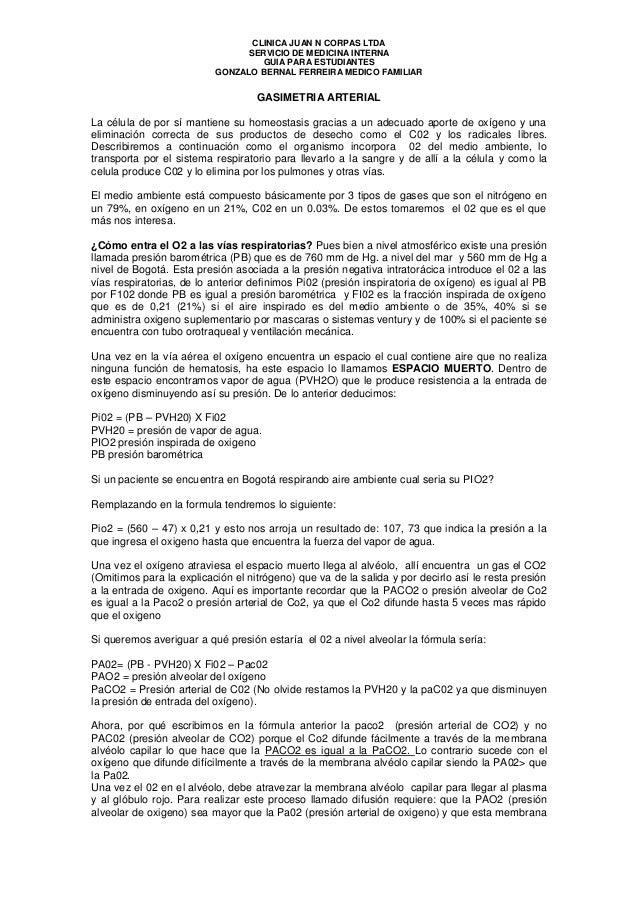 CLINICA JUAN N CORPAS LTDA SERVICIO DE MEDICINA INTERNA GUIA PARA ESTUDIANTES GONZALO BERNAL FERREIRA MEDICO FAMILIAR  GAS...