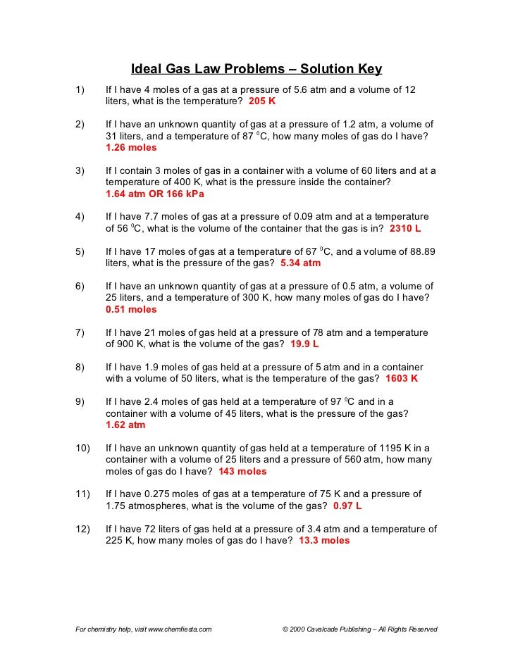 Gas law packet answers – Ideal Gas Law Worksheet