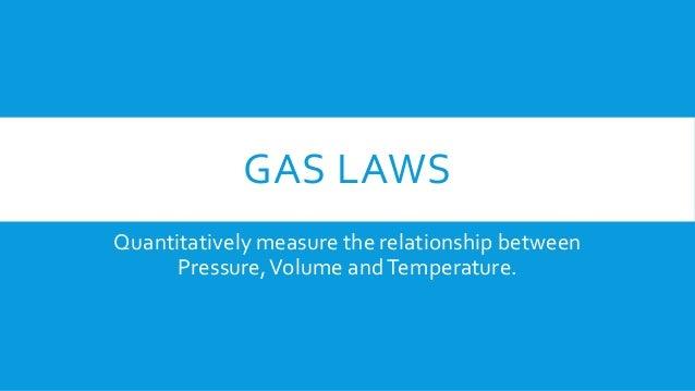 GAS LAWS Quantitatively measure the relationship between Pressure,Volume andTemperature.