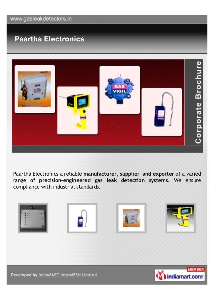 Paartha Electronics a reliable manufacturer, supplier and exporter of a variedrange of precision-engineered gas leak detec...