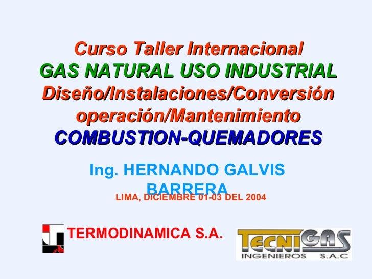Curso Taller Internacional GAS NATURAL USO INDUSTRIAL  Diseño/Instalaciones/Conversiónoperación/Mantenimiento COMBUSTION-Q...
