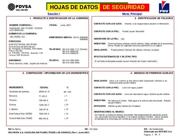 PDVSA                                 HOJAS DE DATOS DE SEGURIDAD        DELTAVEN                                         ...