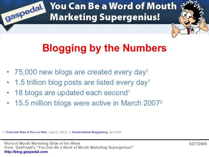 Blogging by the Numbers 8/27/2008 <ul><li>75,000 new blogs are created every day 1 </li></ul><ul><li>1.5 trillion blog pos...