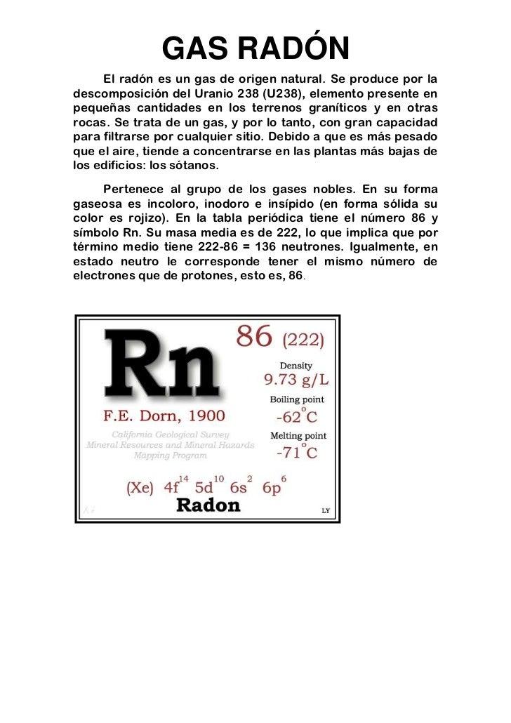 Gas rad n for Medicion de gas radon