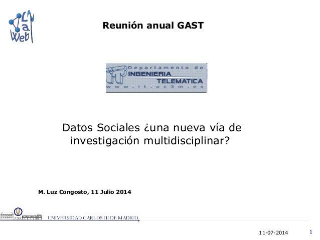 11-07-2014 1 M. Luz Congosto, 11 Julio 2014 Reunión anual GAST Datos Sociales ¿una nueva vía de investigación multidiscipl...