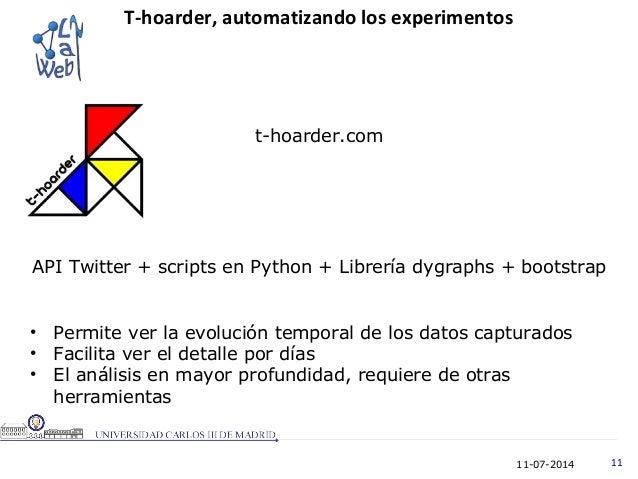 11-07-2014 11 T-hoarder, automatizando los experimentos t-hoarder.com API Twitter + scripts en Python + Librería dygraphs ...