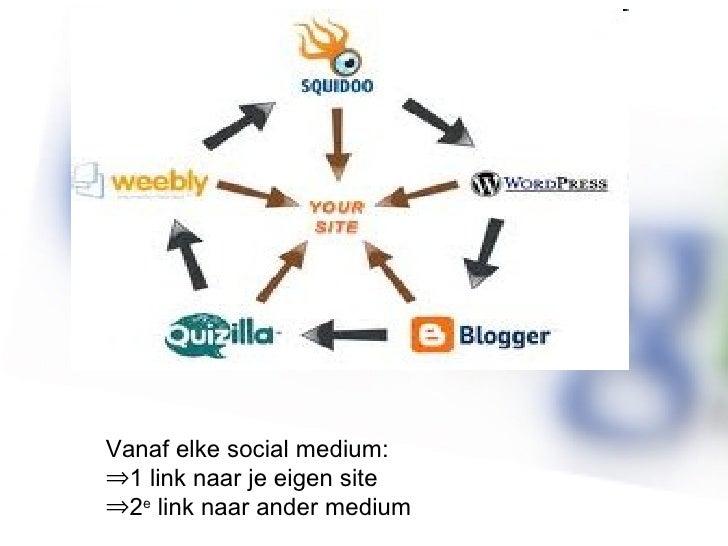 <ul><li>Vanaf elke social medium: </li></ul><ul><li>1 link naar je eigen site </li></ul><ul><li>2 e  link naar ander mediu...