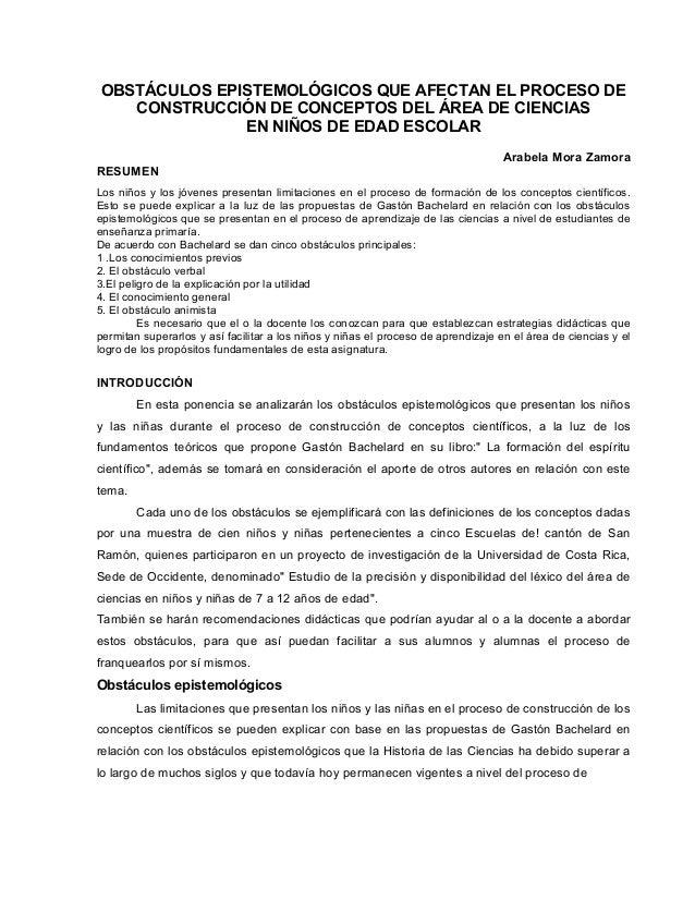 OBSTÁCULOS EPISTEMOLÓGICOS QUE AFECTAN EL PROCESO DE CONSTRUCCIÓN DE CONCEPTOS DEL ÁREA DE CIENCIAS EN NIÑOS DE EDAD ESCOL...