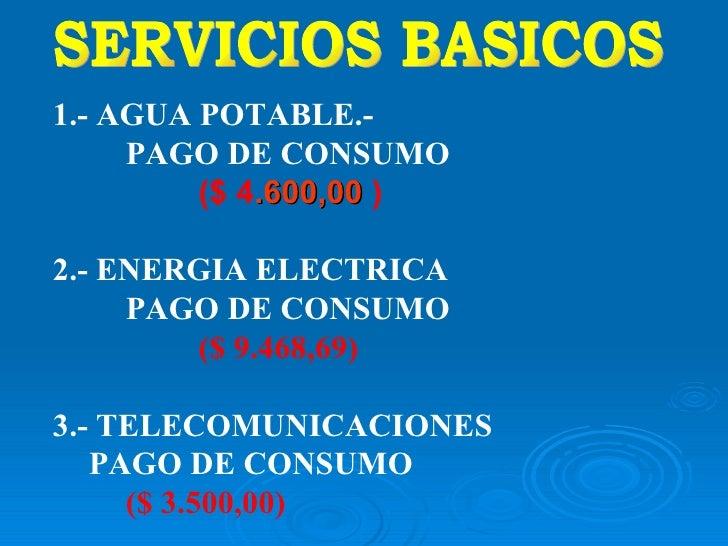 SERVICIOS BASICOS 1.-  AGUA POTABLE.- PAGO DE CONSUMO ($ 4 .600,00   ) 2.- ENERGIA ELECTRICA PAGO DE CONSUMO ($ 9.468,69) ...