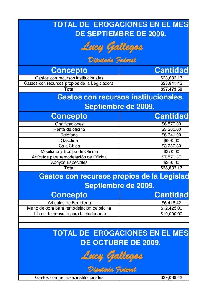 TOTAL DE EROGACIONES EN EL MES                   DE SEPTIEMBRE DE 2009.                             Lucy Gallegos         ...