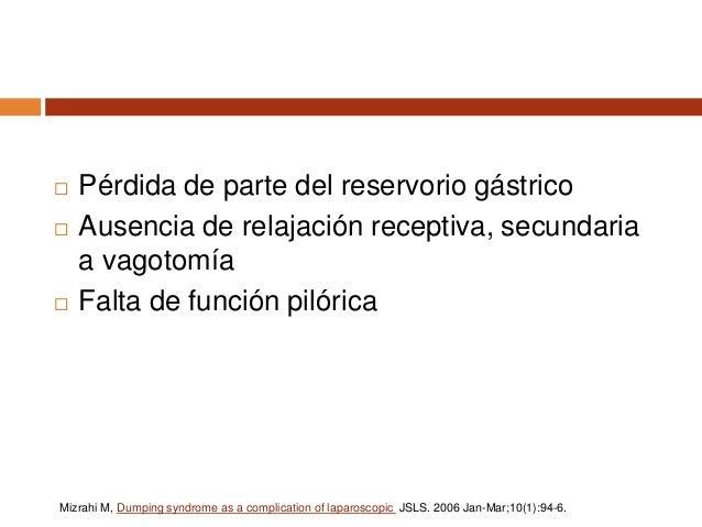 Síndrome posprandial precoz  2 a 3 horas después de la ingesta.  Vaciamiento Rápido  Altas concentraciones de carbohidr...