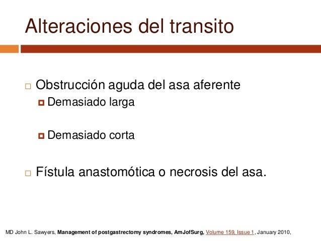 Derivación del asa estenosada con anastomosis laterolateral. MD John L. Sawyers, Management of postgastrectomy syndromes, ...