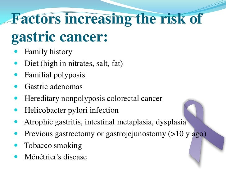 complications of stomach cancer Gastric cancer presentation final