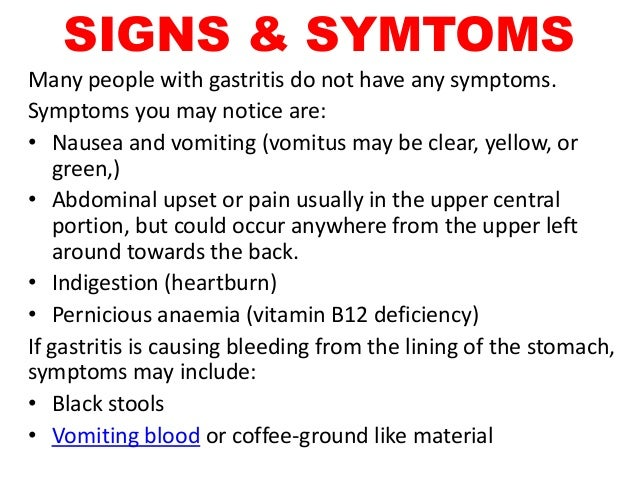 Gastritis signs and symptoms
