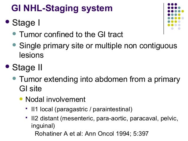 GI NHL-Staging system Stage I  Tumor confined to the GI tract  Single primary site or multiple non contiguous lesions ...