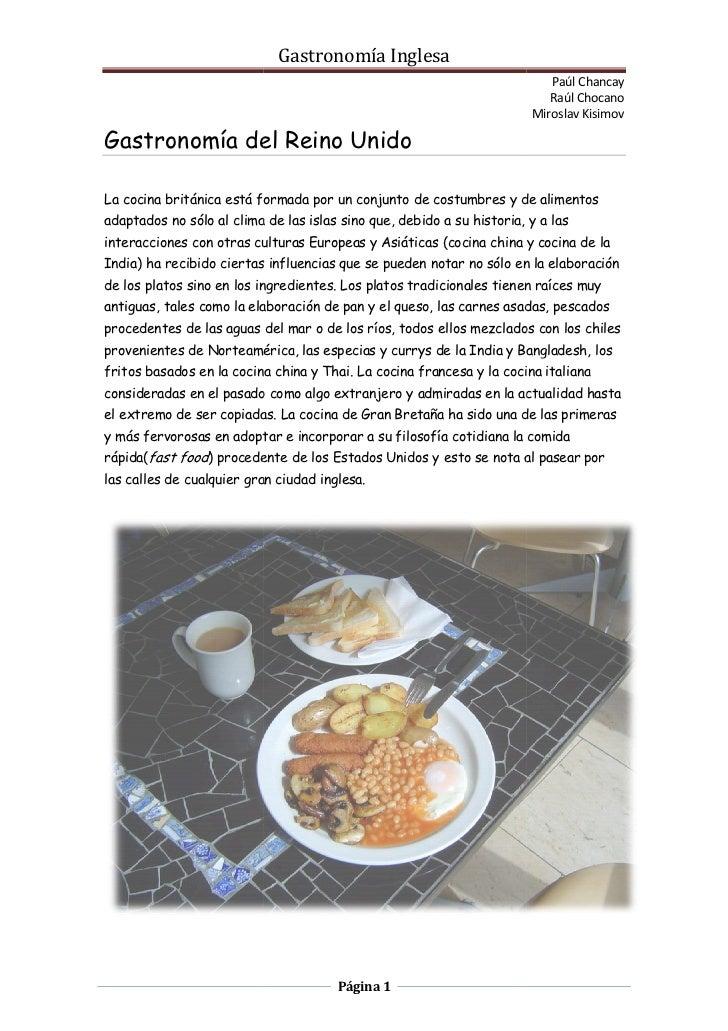 Gastronomía Inglesa                                                                           Paúl Chancay                ...