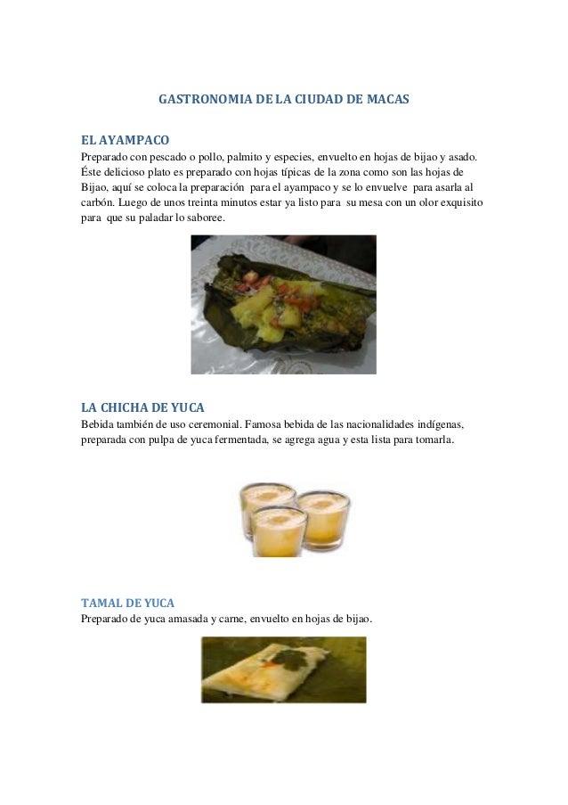 GASTRONOMIA DE LA CIUDAD DE MACAS EL AYAMPACO Preparado con pescado o pollo, palmito y especies, envuelto en hojas de bija...