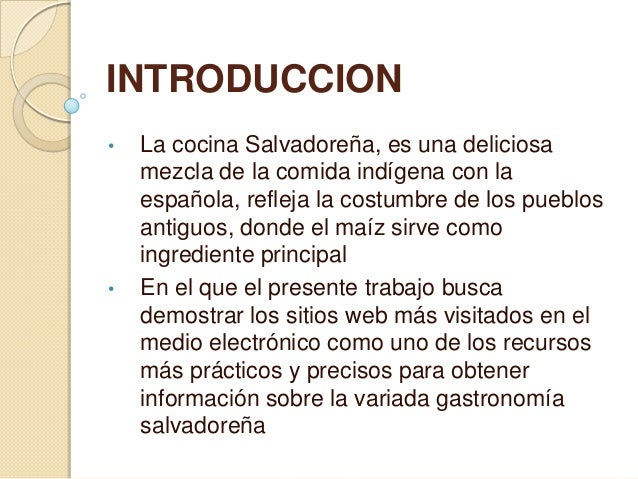 Gastronomia el salvador for Introduccion a la gastronomia pdf