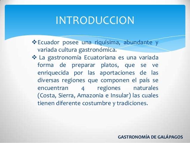 Gastronomia galapagos for Introduccion a la gastronomia pdf