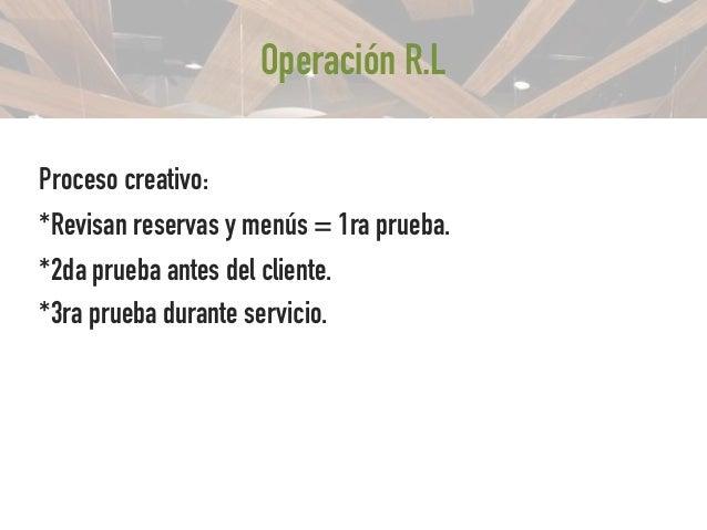 Operación R.L • Pedido al almacén todas mañanas. : inventario total. • Zona reciclaje. • Personal 2 cambios : delantal – ...