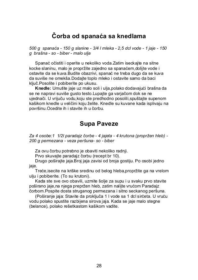 Čorba od spanaća sa knedlama 500 g spanaća - 150 g slanine - 3/4 l mleka - 2,5 dcl vode - 1 jaje - 150 g brašna - so - bib...