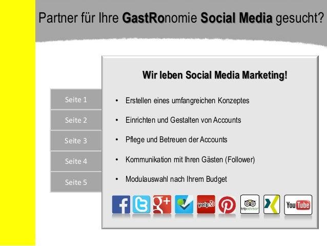 Seite 5 Seite 4 Seite 1 Seite 2 Seite 3 Wir leben Social Media Marketing! • Erstellen eines umfangreichen Konzeptes • Einr...