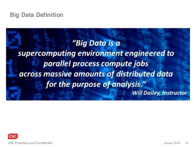 37Januar, 2016CSC Proprietary and Confidential Big Data Definition