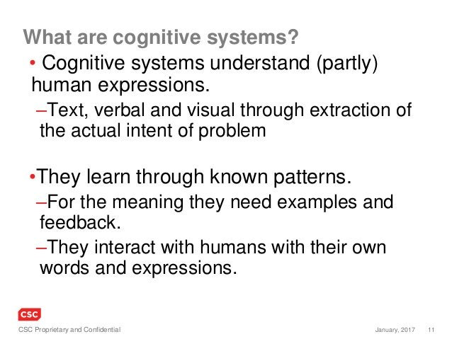 11January, 2017CSC Proprietary and Confidential What are cognitive systems? • Cognitive systems understand (partly) human ...