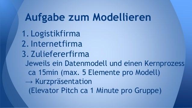 1. Logistikfirma 2. Internetfirma 3. Zuliefererfirma Jeweils ein Datenmodell und einen Kernprozess ca 15min (max. 5 Elemen...