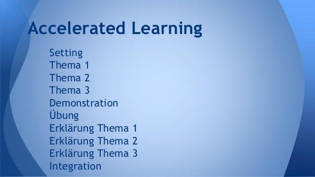 Setting Thema 1 Thema 2 Thema 3 Demonstration Übung Erklärung Thema 1 Erklärung Thema 2 Erklärung Thema 3 Integration Acce...