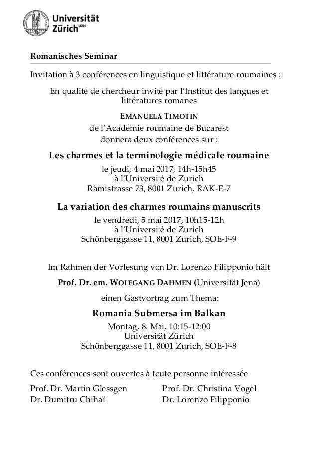 Romanisches Seminar Invitation à 3 conférences en linguistique et littérature roumaines : En qualité de chercheur invité p...