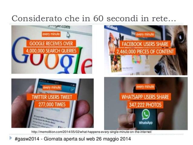 Considerato che in 60 secondi in rete… http://memolition.com/2014/05/02/what-happens-every-single-minute-on-the-internet/ ...