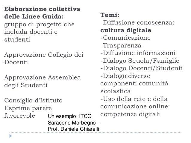 Un esempio: ITCG Saraceno Morbegno – Prof. Daniele Chiarelli Elaborazione collettiva delle Linee Guida: gruppo di progetto...