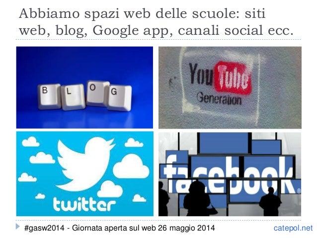 Abbiamo spazi web delle scuole: siti web, blog, Google app, canali social ecc. catepol.net#gasw2014 - Giornata aperta sul ...