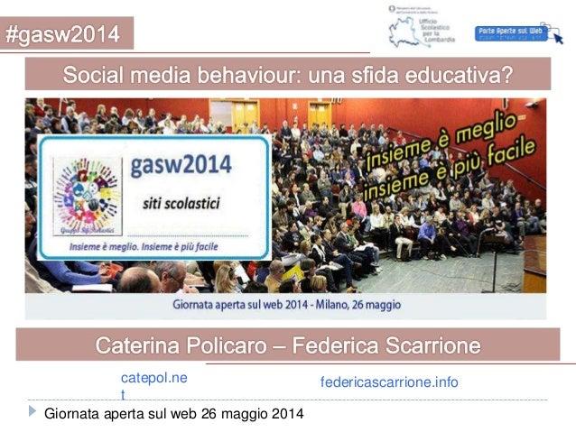 Giornata aperta sul web 26 maggio 2014 catepol.ne t federicascarrione.info