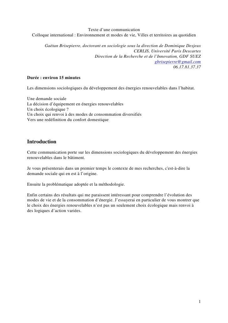 Texte d'une communication   Colloque international : Environnement et modes de vie, Villes et territoires au quotidien    ...