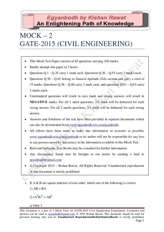 Gate 2015 civil engineering mock (model) test paper - 2 by egyanbodh