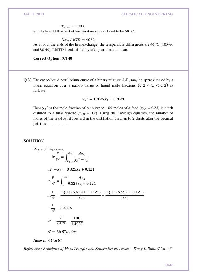 Gate Syllabus For Chemical Engineering Pdf