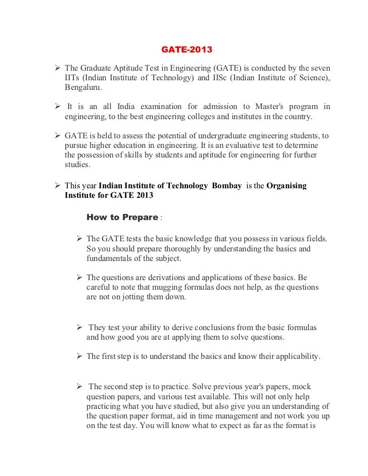 GATE-2013The Graduate Aptitude Test in Engineering (GATE) is conducted by the sevenIITs (Indian Institute of Technology) a...
