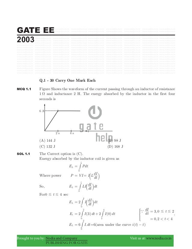 Gate ee 2003 with solutions