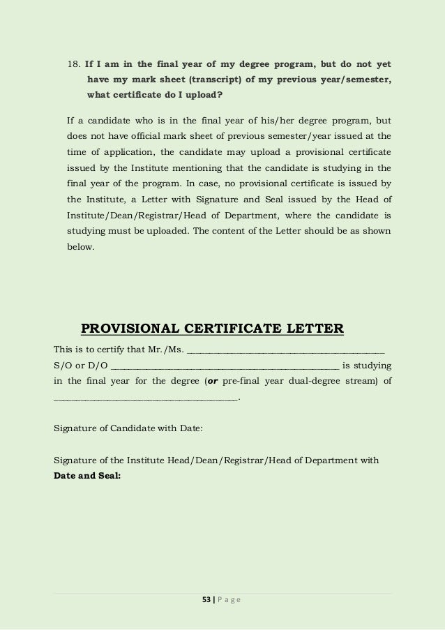 Provisional certificate letter sample images certificate design provisional certificate sample computer institute gallery gate information brochure 4 feb 2017 53 yadclub gallery yadclub yelopaper Image collections