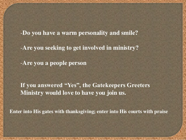 West Point Ms >> Gatekeepers greeters ministry 2 powerpoint