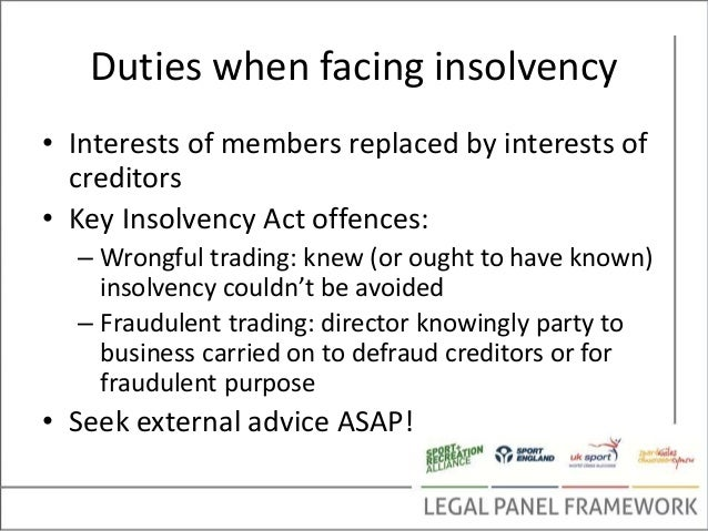 duty to prevent insolvent trading essay Sv partners are well experienced in recovering and defending insolvent trading claims asic places directors with a positive duty to prevent insolvent trading available through sv partners is a guide to trading while insolvent explore your options with sv partners now.