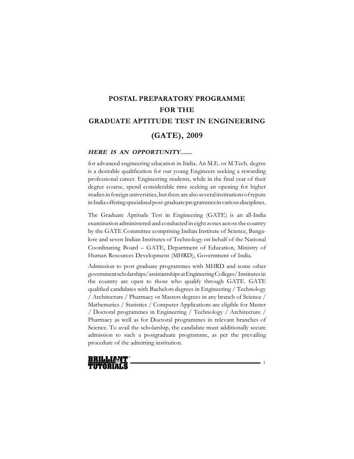 POSTAL PREPARATORY PROGRAMME                FOR THE GRADUATE APTITUDE TEST IN ENGINEERING                              (GA...