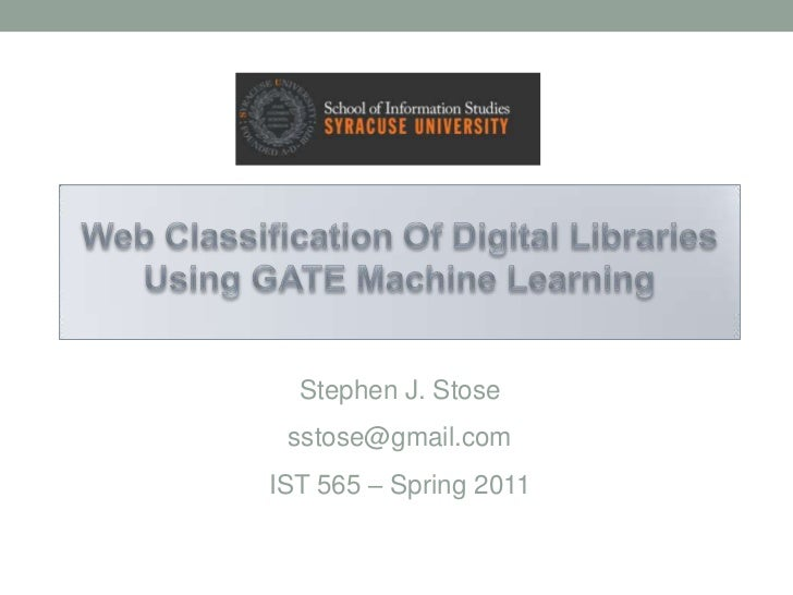 Web classification of Digital Libraries using GATE Machine Learning