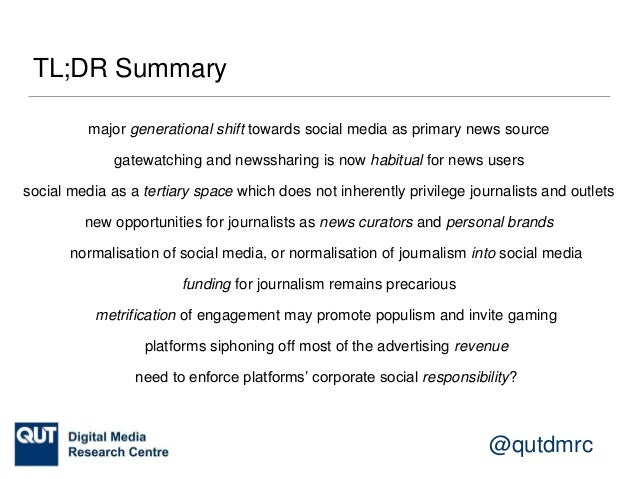 @qutdmrc Gatewatching and News Curation Axel Bruns. Gatewatching and News Curation: Journalism, Social Media, and the Publ...