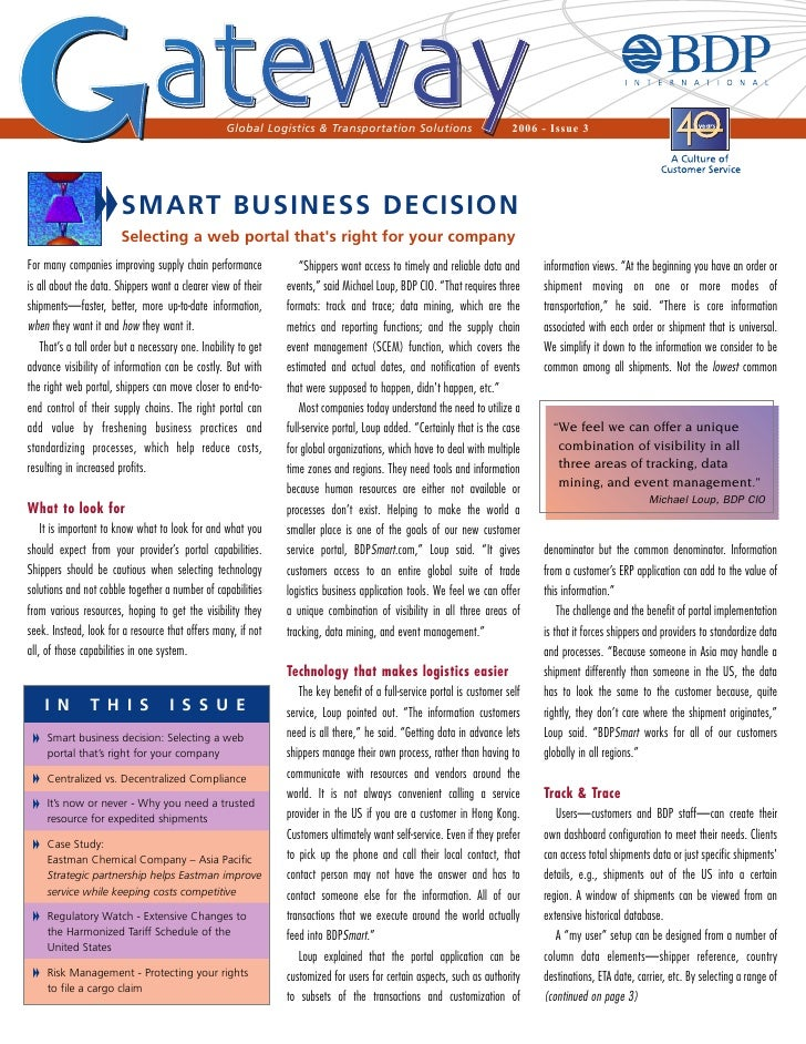 Global Logistics & Transportation Solutions                           2006 - Issue 3                        SMART BUSINESS...